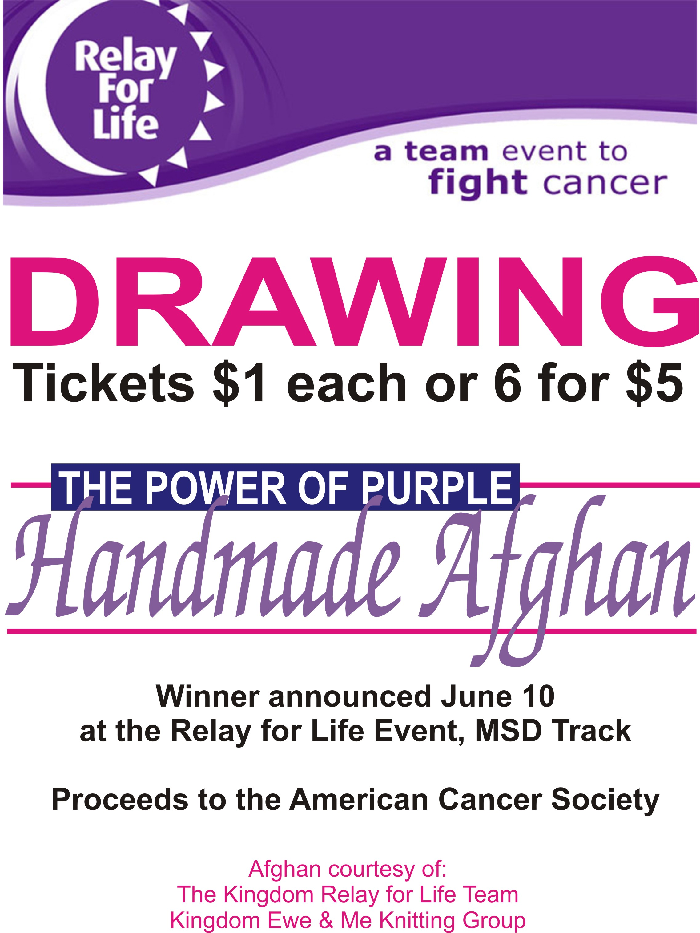 relay for life afghan raffle advertisements