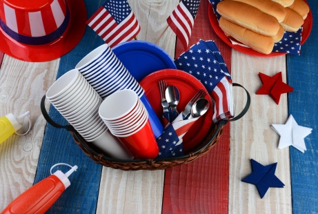 Picnic Table Ready For Fourth of July Party